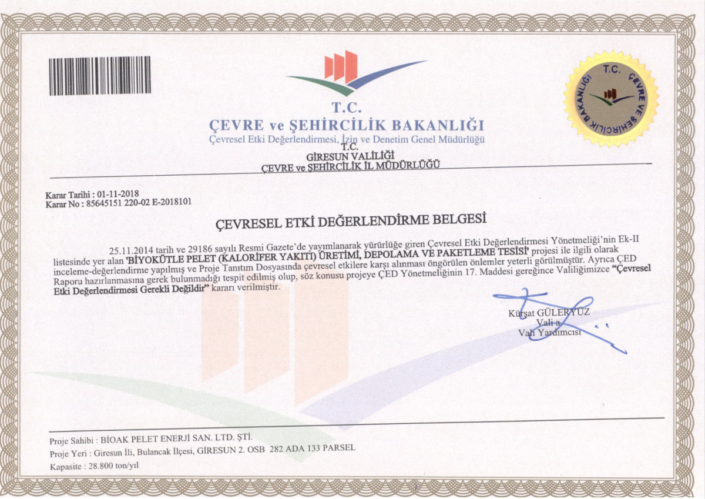 Bioak pellet fuel product alternative energy giresun turkey Environmental Impact Assessment Certificate (EIA)