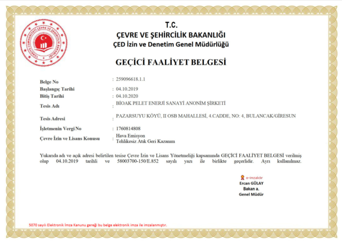 Bioak pellet fuel product alternative energy giresun turkey Certificate of Conformity to Turkish Standards (TSE)